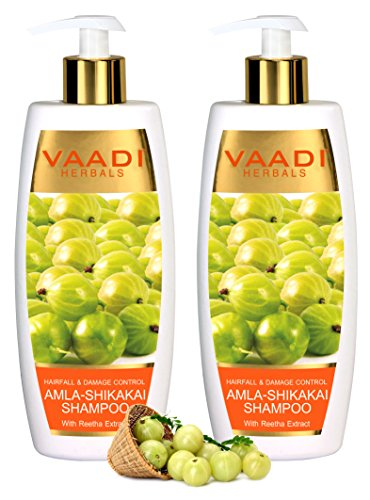 Amla with Shikakai & Reetha Shampoo - ★ Hair Fall and Damage Control Shampoo - ★ ALL Natural Herbal Shampoo - ★ Paraben Free - ★ Sulfate Free - ★ Scalp Therapy - ★ Moisture Therapy - ★ Suitable for All Hair Types - ★ Value Pack of 2 X 11.8 Ounces - Vaadi Herbals (Alcohol Free Herbal Shampoo)