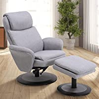 Mac Motion Comfort Chair Denmark Recliner and Ottoman in Light Grey Fabric