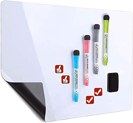 Small Magnetic Dry Erase Board for Refrigerator Whiteboard Magnets 11 x 17 Magnetic Dry Erase Whiteboard Sheet for Refrigerator Includes a Set of 3 Dry Erase Markers and Magnetic Eraser