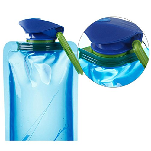 1L Outdoor Foldable Drinking Water Bottle Bag, Bolayu Pouch Hiking Camping Water Bag ()