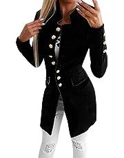 Mymyguoe Mujer Abrigos Solapa Blazer Manga Larga Slim Fit con Office Botón Oficina Negocios Camisa Chaqueta