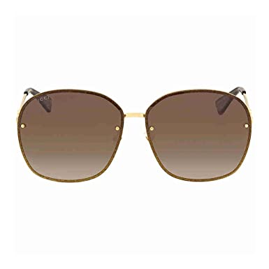 Gucci Damen Sonnenbrille GG0228S 003, Gold (3/Brown), 63