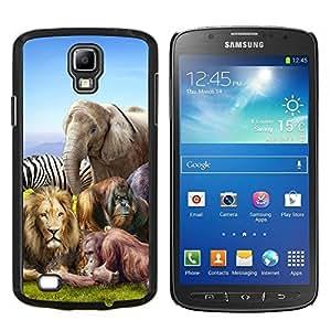 YiPhone /// Prima de resorte delgada de la cubierta del caso de Shell Armor - Animales africanos Zoo elefante león cebra - Samsung Galaxy S4 Active i9295