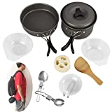 faberware porcelain cookware - Camping Cookware Mess Kit Stainless Steel Backpacking Gear & Hiking Outdoors Bug Out Bag Cooking Equipment 11 Piece Cookset ,Lightweight, Compact, & Durable Pot Pan Bowls