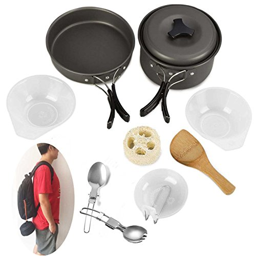 Aluminum Outdoor Portable Cookers Camping Pots Set For 1-2 Peoples - 6