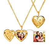 U7 Horoscope Constellation Jewelry 18K Gold Plated Zodiac Sign Engraved Heart Photo Locket Pendant Necklace (Aries)