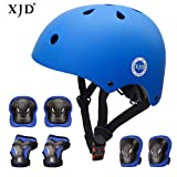 XJD Kids Helmet 3-8 Years Toddler Helmet Boys Girls Sports Protective Gear Set Knee Pad Elbow Pads Wrist Guards Adjustable Roller Bicycle BMX Bike Skateboard Helmets for Kids Blue S