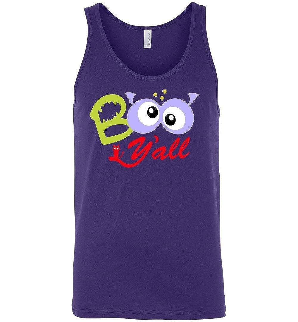 Funny Halloween Shirts Boo Yall Googly Eyes Sharp Teeth Sleeveless Tank Top