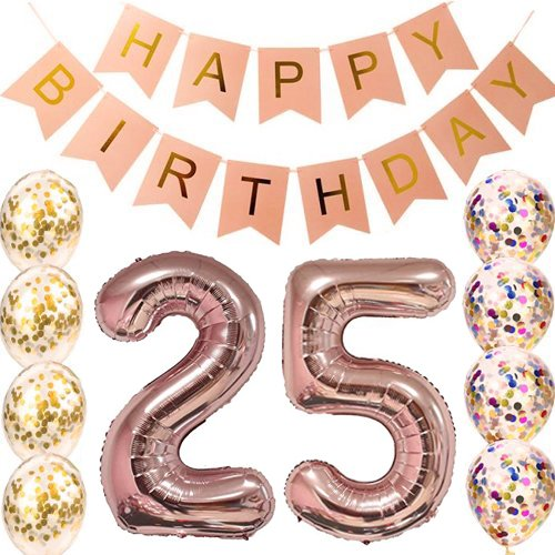 25th Birthday decorations Party supplies-25th Birthday Balloons Rose Gold,25th birthday banner,25th birthday for women,use them as Props for Photos (Rose Gold 25)