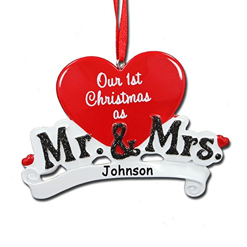Personalized Our 1st Christmas as Mr. & Mrs. Red Heart Glittered Detail Newly Wed Couple Hanging Christmas Ornament Custom Name - 4 Inches