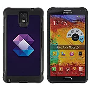 Fuerte Suave TPU GEL Caso Carcasa de Protección Funda para Samsung Note 3 / Business Style Crystal Gemstone Polygon Black