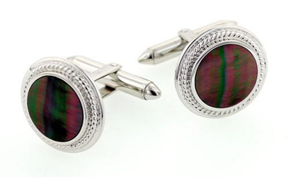 18KT White Gold and Black Mother of Pearl Cufflinks