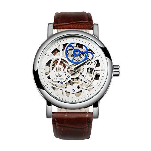 Mens Wrist Watch Mechanical Brown Stainless Steel Band Retro See Through Luxury