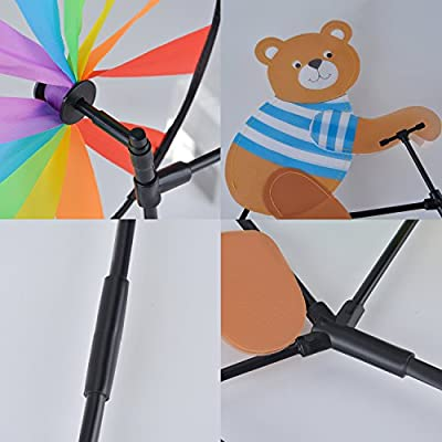 Wind Spinner Colorful Cartoon Animal Ride a Bike Wind Mill Garden Decoration: Clothing