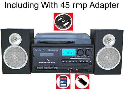 Boytone BT-28SBS, Bluetooth Classic Style Record Player Turntable with AM/FM Radio, Cassette Player, CD Player, 2 Separate Stereo Speakers, Record Vinyl, Radio, Cassette to MP3, SD Slot, USB, AUX by Boytone (Image #2)