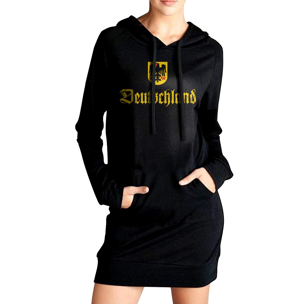 Vintage Deutschland German Sport Outwear with Pockets Womens Slim Fit Fleece Long Hoodies Dress