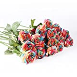 IPOPU 10 Pcs Romantic Real Touch Artificial False Latex Silk Blooming Roses Bouquet Floral Leaf for Home Wedding Party Garden Bridal Hydrangea Decorations DIY (Rainbow)