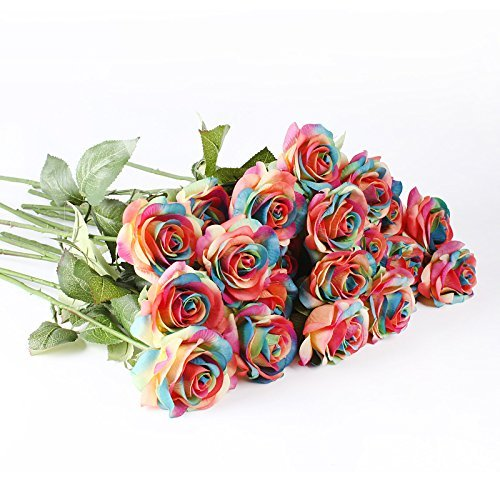 (IPOPU 10 Pcs Romantic Real Touch Artificial False Latex Silk Blooming Roses Bouquet Floral Leaf for Home Wedding Party Garden Bridal Hydrangea Decorations DIY (Rainbow) )