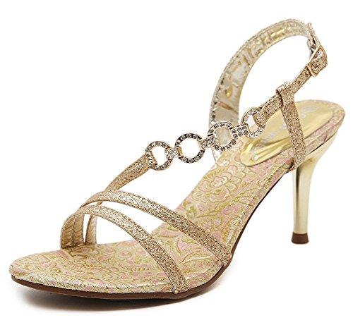 Aisun Donna Elegante Strass Open Toe Slingback D-orsay Sandali Con I Tacchi Stiletto Scarpe Con Tacchi Oro