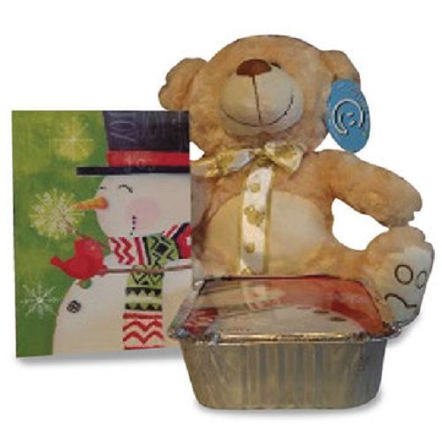 Child's Christmas Candy Gift basket with Plush Teddy Bear and Greeting card