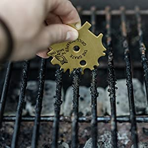 The Grate Grill Scraper Universal - Brass Barbeque Cleaner - Cleans Gas, Electric, Panini, Infrared, Ceramic, Park and Campground Grates - with Grill Pan Scraper and Griddle Scraper by The Sage Owl