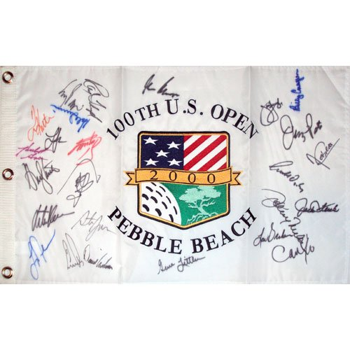 2000 US Open (Pebble Beach) Golf Pin Flag Autographed by 26 Former Champions (Pebble Beach Us Open Flag)