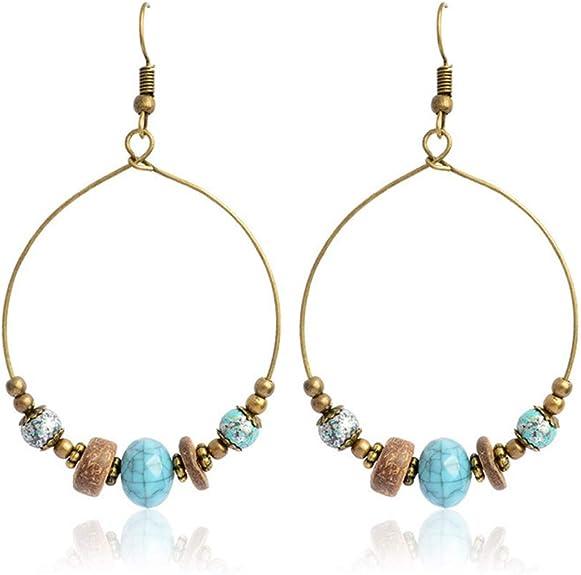 Birthday Gift Earthy Rustic Dangle Glass Beaded Earrings Boho Leather Earrings Leather Hoop Drop Bohemian Jewelry Teardrop Earrings
