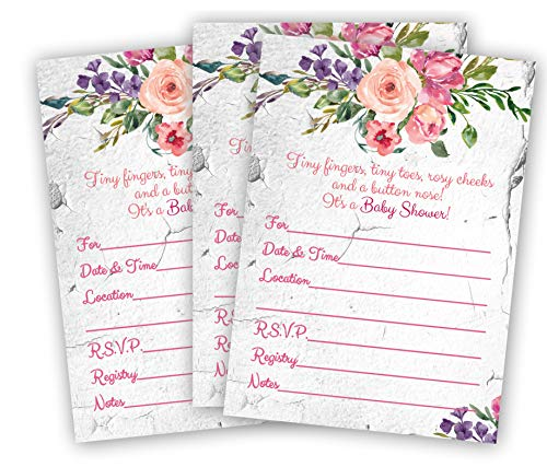 Pink and Purple Girl Baby Shower Invitations Rustic Floral Elegant Invites 5x7 Large Size Rose Qty 20 with White Envelopes