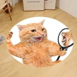 Gzhihine Custom round floor mat Kitten A Cat Looking into the Mirror and Seeing a Reflection of a Lion Digital Image Bedroom Living Room Dorm White and Apricot