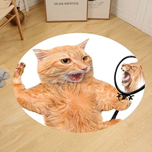 Gzhihine Custom round floor mat Kitten A Cat Looking into the Mirror and Seeing a Reflection of a Lion Digital Image Bedroom Living Room Dorm White and Apricot by Gzhihine