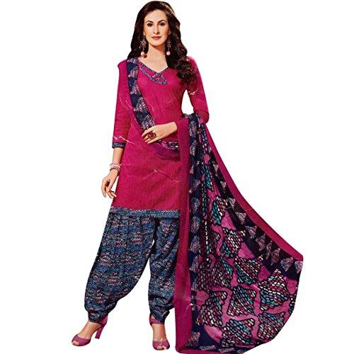 Readymade Printed Cotton Salwar Kameez with Chiffon Dupatta Pink
