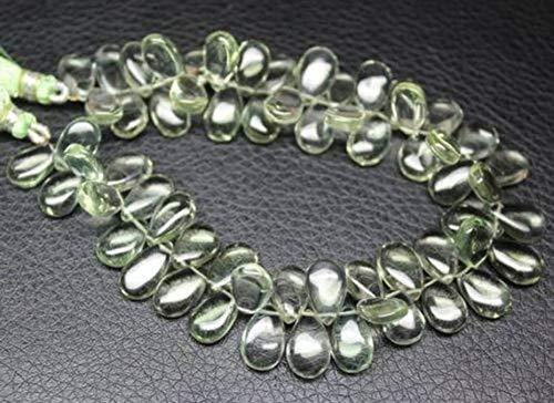 Beads Bazar Natural Beautiful jewellery Green Amethyst Prasiolite Smooth Briolette Pear Drop Gemstone Craft Loose Beads Strand 4