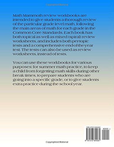 Math Mammoth Grade 6 Review Workbook Maria Miller 9781516844081
