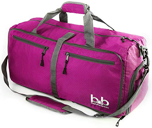 60L Duffle Bag with Pockets for Men and Women - Packable Travel Duffel for Luggage Gym Sports (Pink)