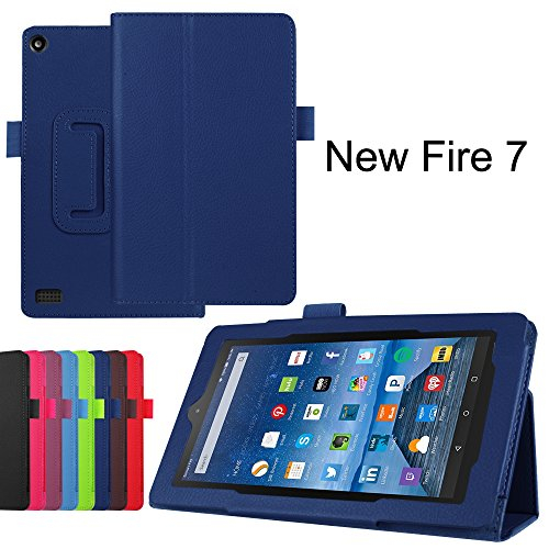 Fire 7 Case, KAMII Slim Lightweight Premium PU Leather Protective Folding Folio Case Cover for Amazon Kindle Fire 7 inch 7 Tablet (Only Fit Amazon Fire 7 Fifth Generation 2015 Release) (Navy)