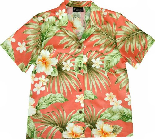 RJC Women's Full Bloom Tropical Camp Shirt Coral 3X Plus