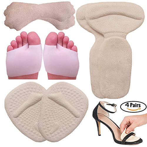 High Heel Pads | Gel Metatarsal pads for women Ball of Foot Cushions, Heel Grips, Gel Metatarsal Pads, High Heel Gel Inserts | All Day Pain Relief and Comfort One Size Fits Shoe Inserts (8 Pieces)