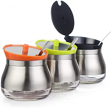 Seasoning Containers 304 Stainless Steel Home Sugar Bowl with Lid and Spoon