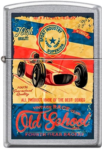 Zippo Old School Vintage Race Club 4th Gear Racers Poster Street Chrome Lighter by Zippo