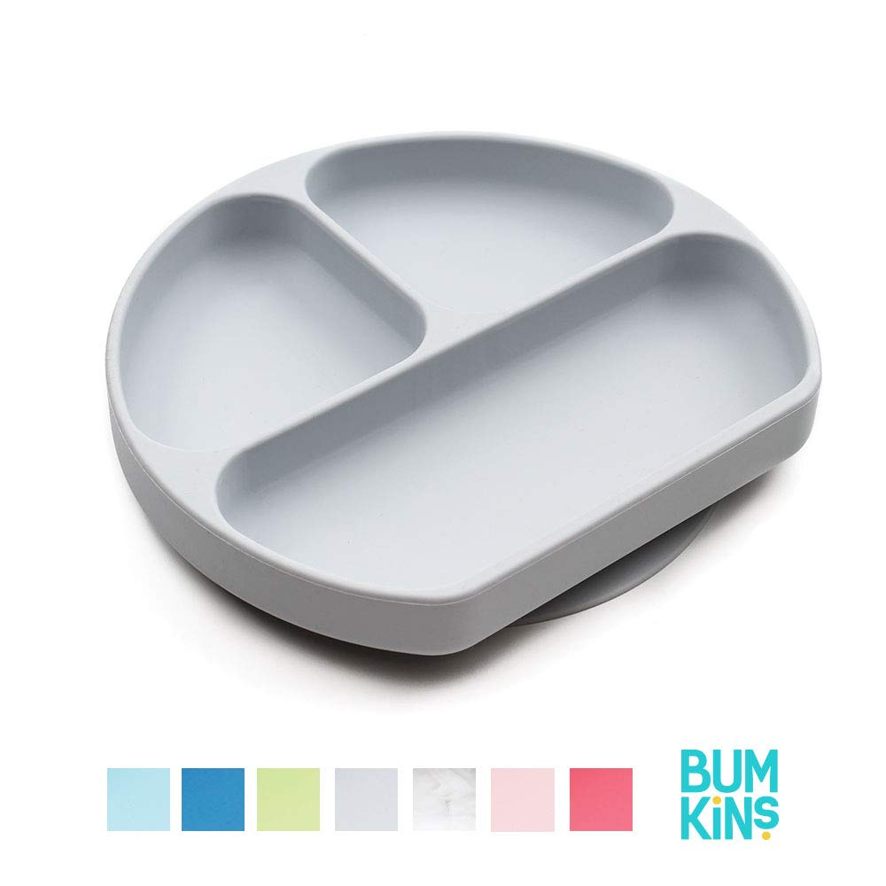 Bumkins Silicone Grip Dish, Suction Plate, Divided Plate, Baby Toddler Plate, BPA Free, Microwave Dishwasher Safe - Gray by Bumkins