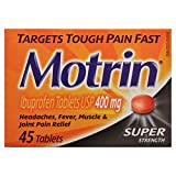 Motrin 400 mg Tablets, Super Strength, 45 Count