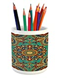 Ambesonne Mandala Pencil Pen Holder, Pattern with Mandala Style Islamic Medieval Arabesque Motifs Oriental Ethnic, Printed Ceramic Pencil Pen Holder for Desk Office Accessory, Red Green Blue