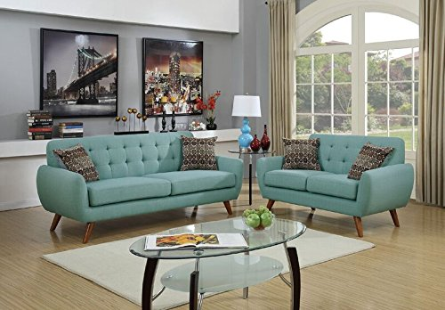 Poundex F6914 Bobkona Sonya Linen-Like 2 Piece Sofa and Loveseat Set, Laguna