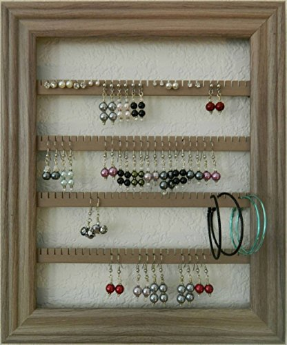 Earring Holder – Holds 75 pair – Made with an 8 x 10 Picture Frame – Lucky Day Designs – Available in 7 Colors – Driftwood brown