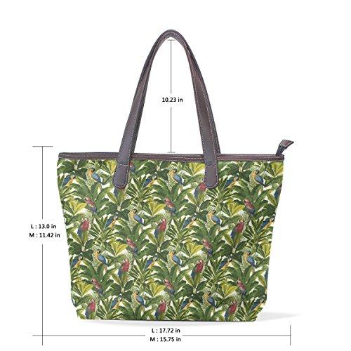 COOSUN Womens Vögel und Baummuster Pu-Leder große Einkaufstasche Griff Umhängetasche