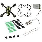 AFUNTA Hubsan X4 H107C Quadcopter Black / Green Spare Parts Crash Pack (One Body Shell + One protective cover + 4 Rubber Feet + 4 x Spare Set + One spare 380mA battery + 2 Motors + 2 Led light)