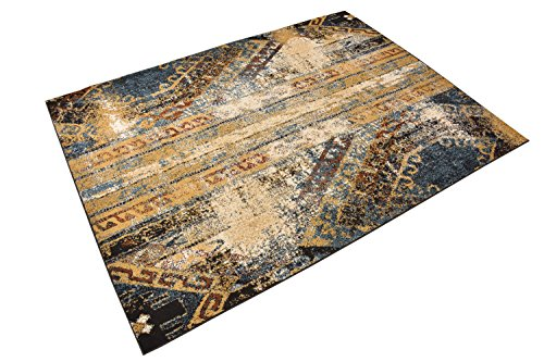 Nevita Collection Southwestern Native American Design Area Rug Southwest Design Rugs Geometric South West Pattern (Vintage Blue, 5 x 7)