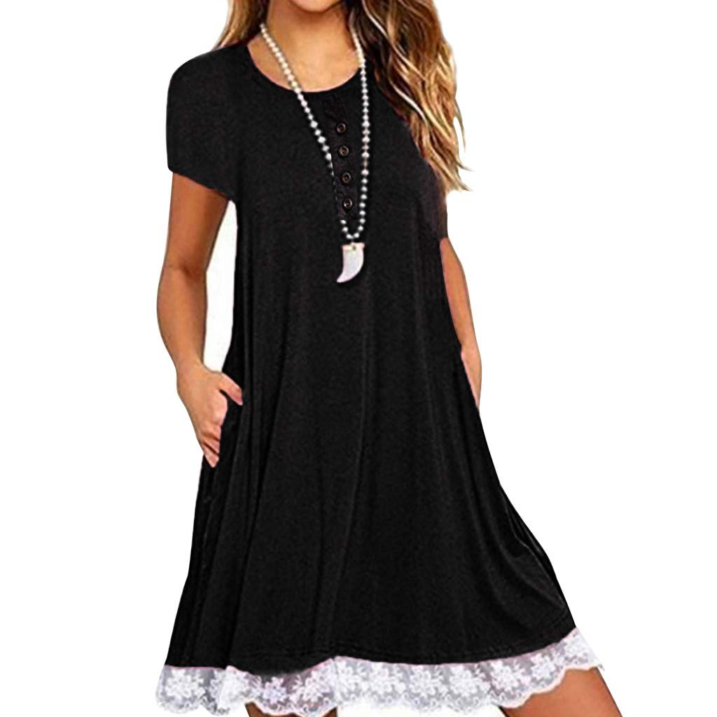 Women Casual O Neck Solid Lace Button Short Sleeve Swing Loose Straight Mini Dress with Pockets (Black, M)
