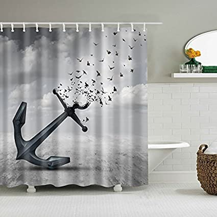 ColourLife Vintage Retro Anchor Birds Shower Curtains 72 X Inches Bathroom Decor Polyester Fabric Waterproof