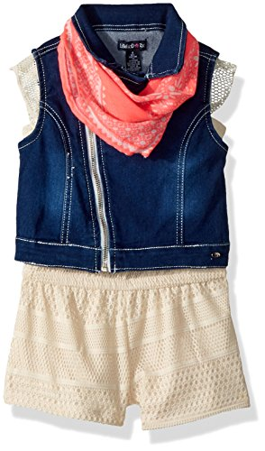 Limited Too Toddler Girls' Romper, Denim Motorcycle Vest with Bandana Vanilla, 4T by Limited Too